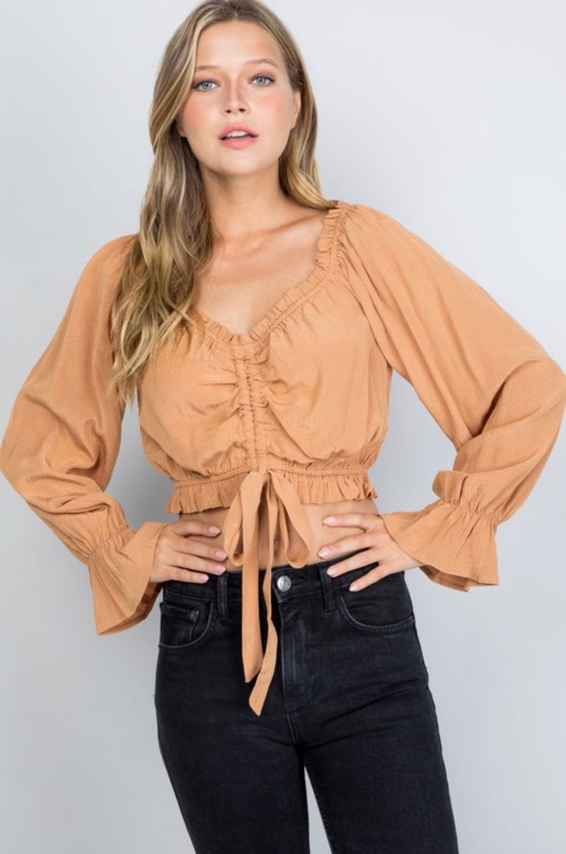 OFF THE SHOULDER RUFFLE CROP BLOUSE - OFF WHITE, GINGER, BLACK AND FADED SAGE - RETAIL STORE