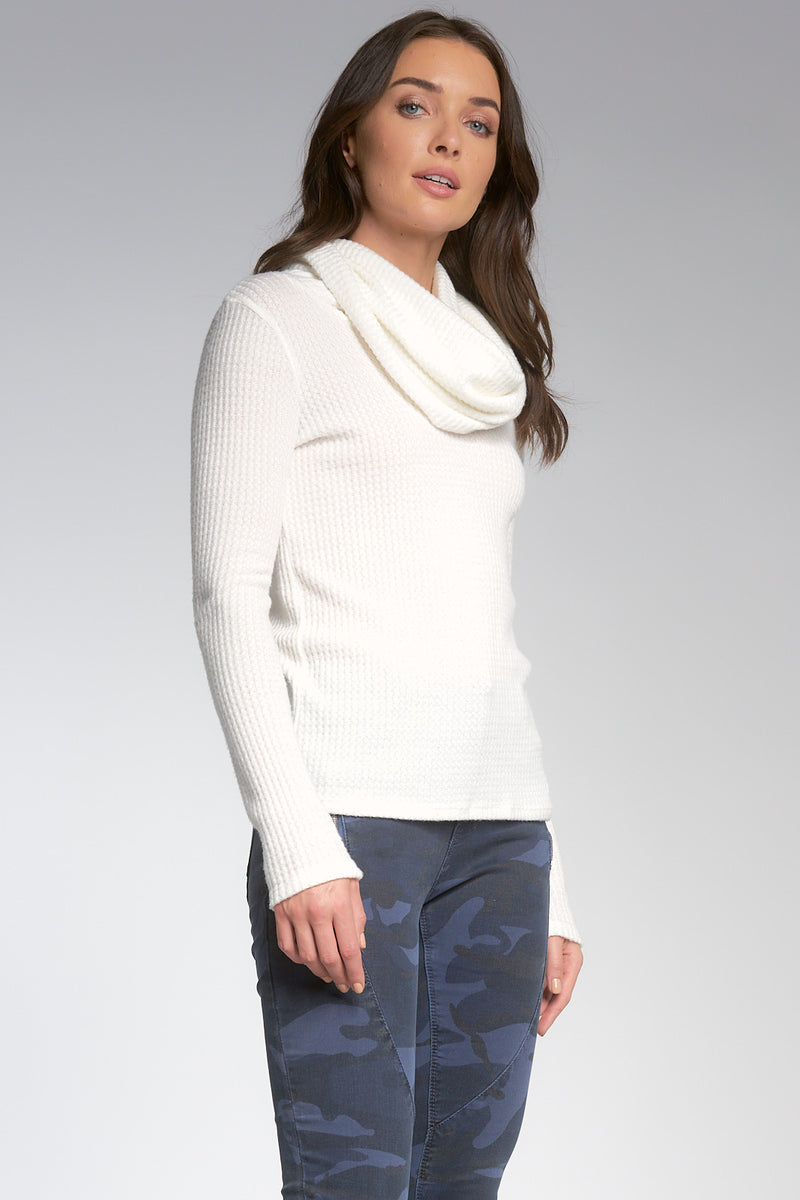 LONG SLEEVE COWL NECK TOP - OFF WHITE - RETAIL STORE