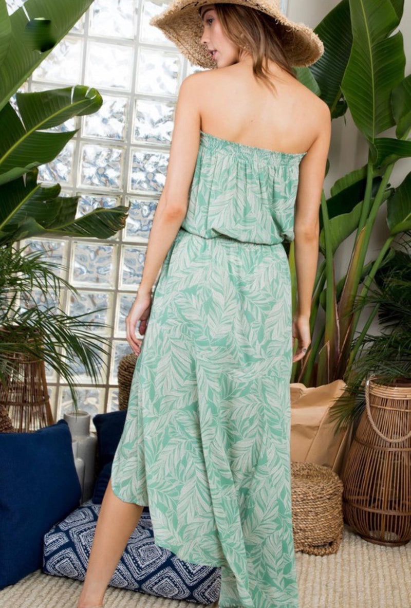 STRAPLESS HIGH LOW DRESS- GREEN SPRUCE- RETAIL STORE
