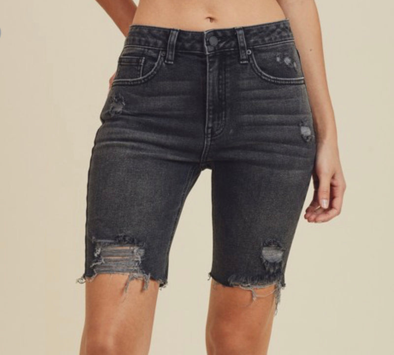 DENIM BIKER SHORTS - AVAILABLE IN BLACK & DENIM - RETAIL STORE