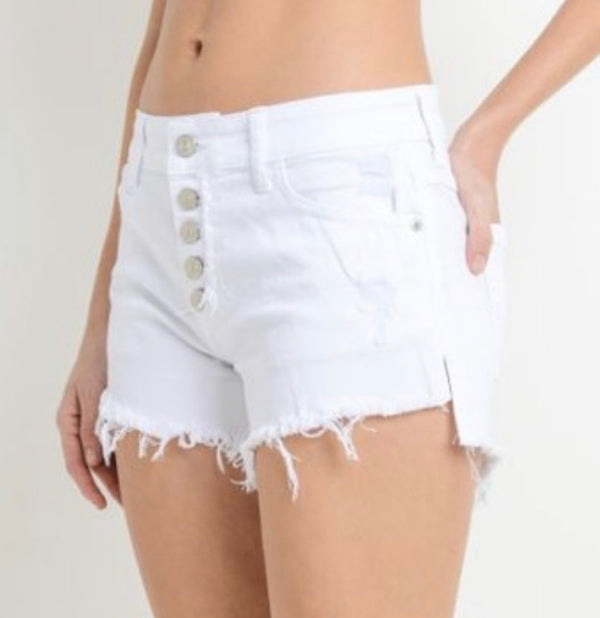BUTTON DOWN FRAYED SHORTS - AVAILABLE IN WHITE, BLACK, LT DENIM -RETAIL STORE