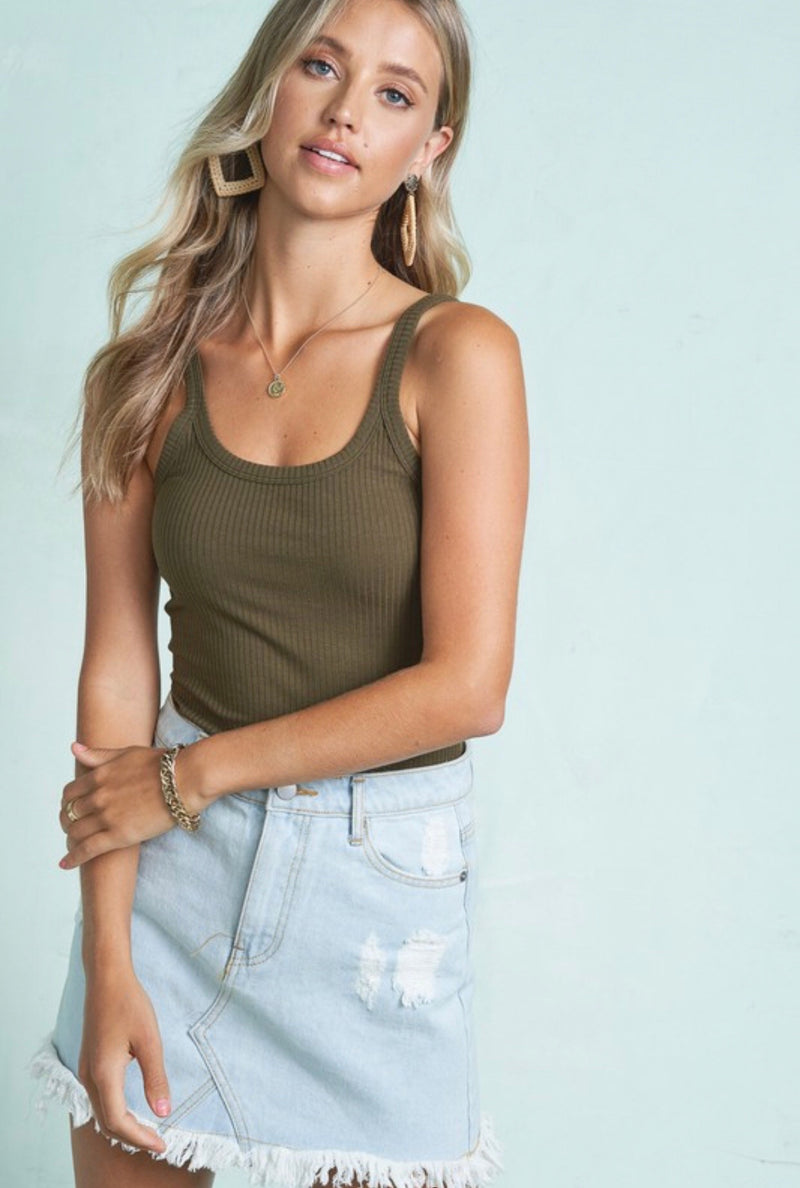 RIBBED KNIT SCOOP NECK TANK - AVAILABLE IN OLIVE, BLACK FIRE AND WHITE - RETAIL STORE