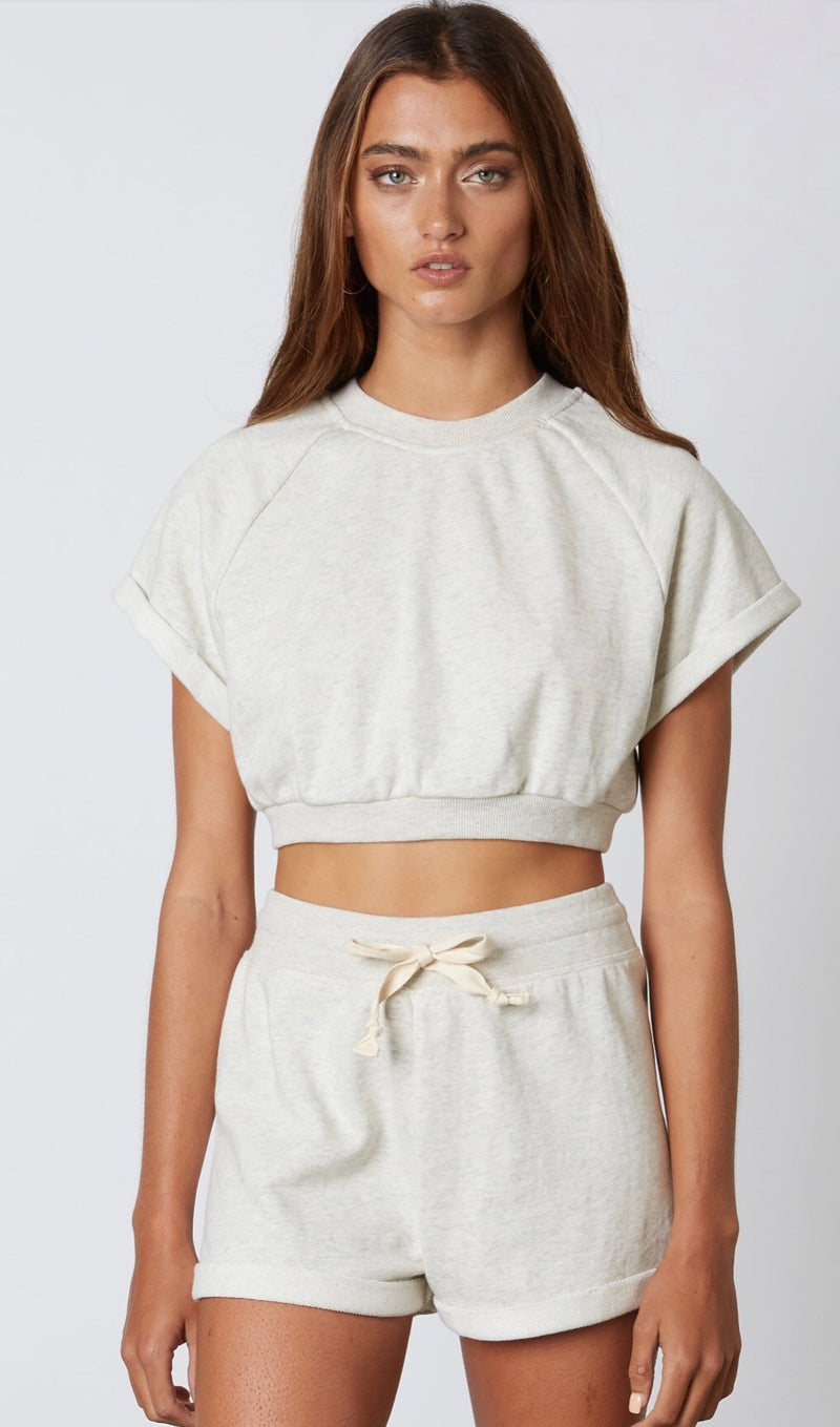 CROPPED SHORT SLEEVE PULLOVER SWEATSHIRT - SAND SHELL - RETAIL STORE