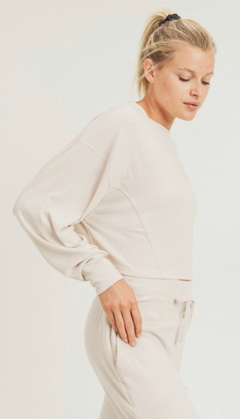 ALL-OVER RIBBED CROPPED PULLOVER - NATURAL - RETAIL STORE