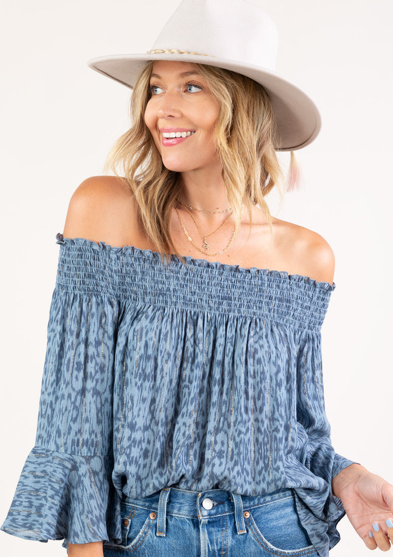 PRINTED FLUTTER SLEEVE OFF THE SHOULDER TOP - SKY/SLATE - RETAIL STORE