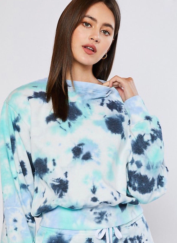 TIE DYE FLEECE SWEATSHIRT - NAVY - RETAIL STORE