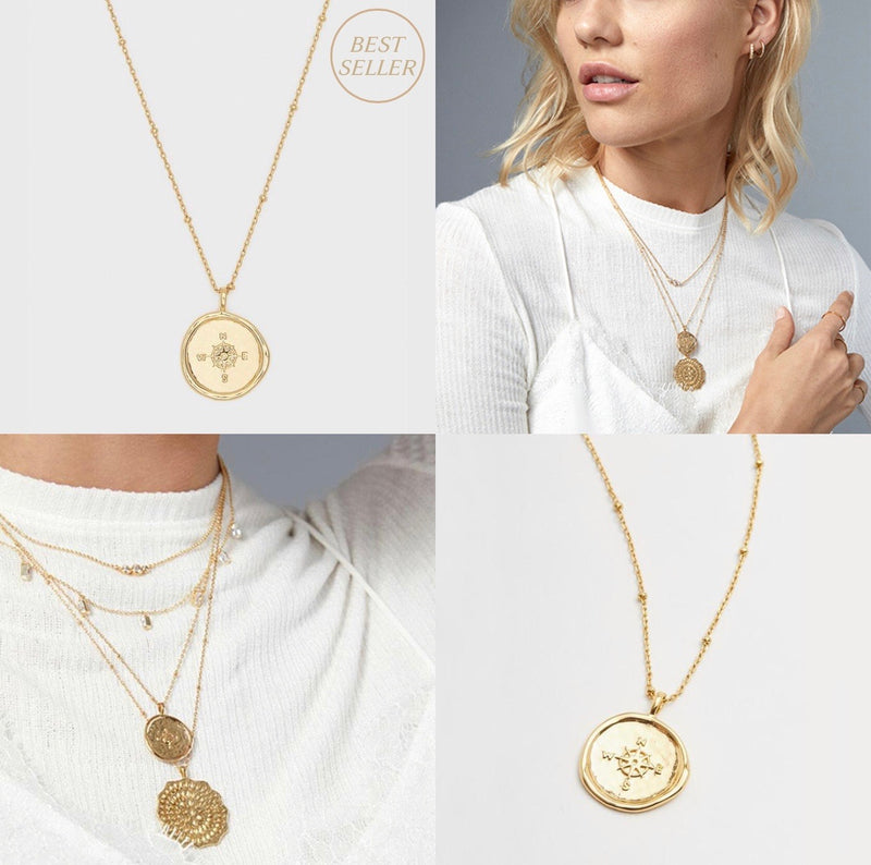 GORJANA COMPASS COIN NECKLACE - GOLD - RETAIL STORE