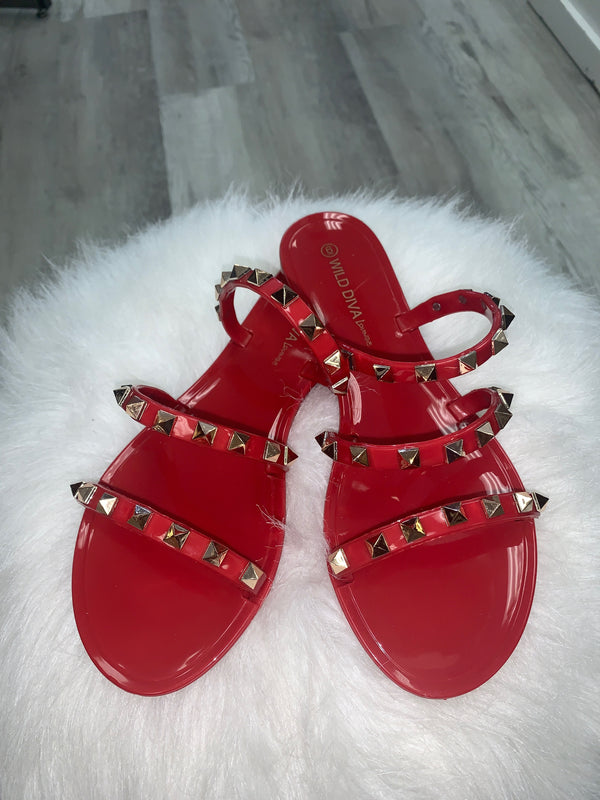 JOANIE SANDALS - RED AND NAVY - RETAIL STORE