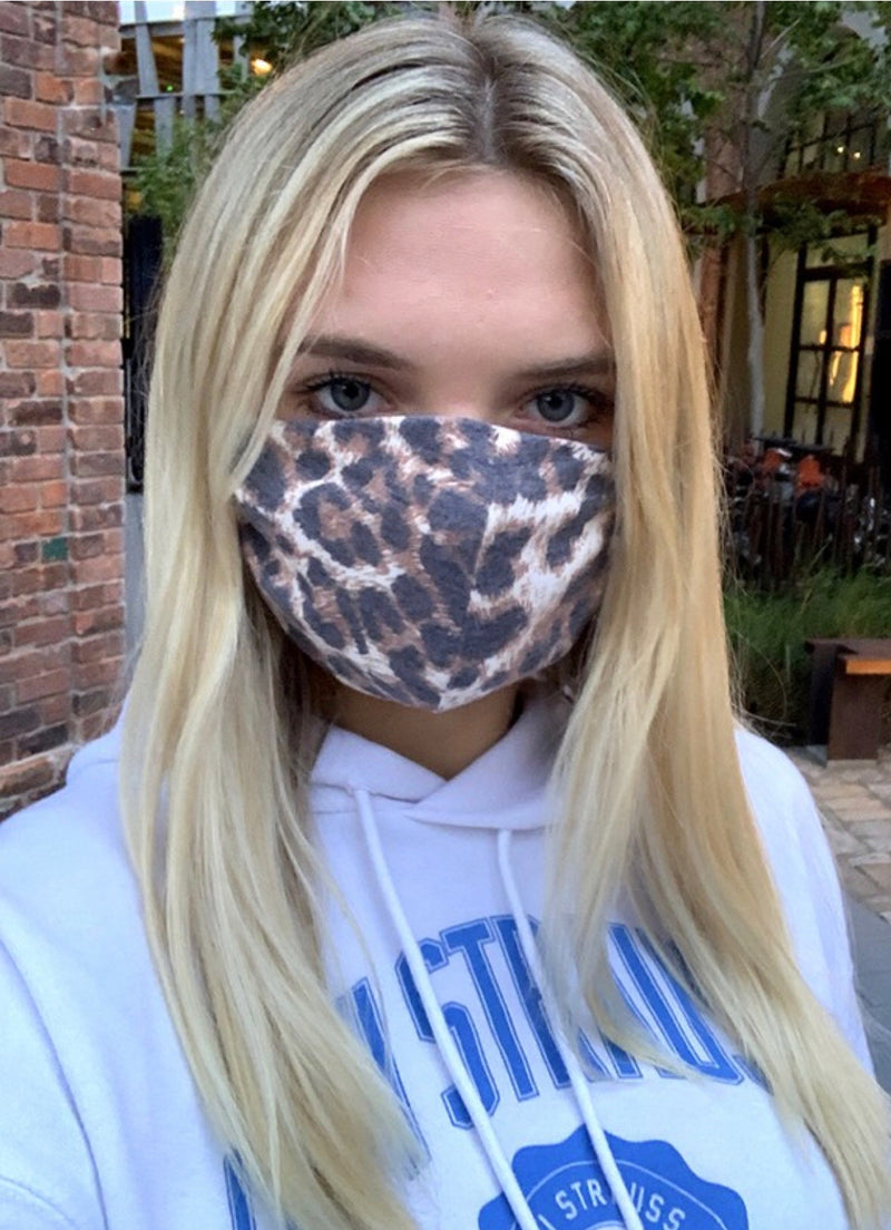 FACE MASK W/POCKET FOR FILTER - CHEETAH PRINT