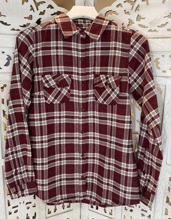 ROLLED UP SLEEVE FLANNEL PLAID SHIRT - RED BEAN/GREY - RETAIL STORE