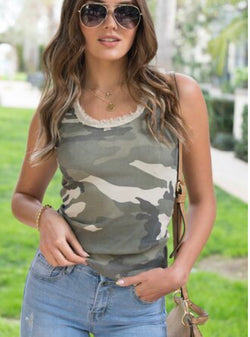 RIBBED CAMO TANK TOP - AVAILABLE IN GREEN, BEIGE AND GRAY - RETAIL STORE