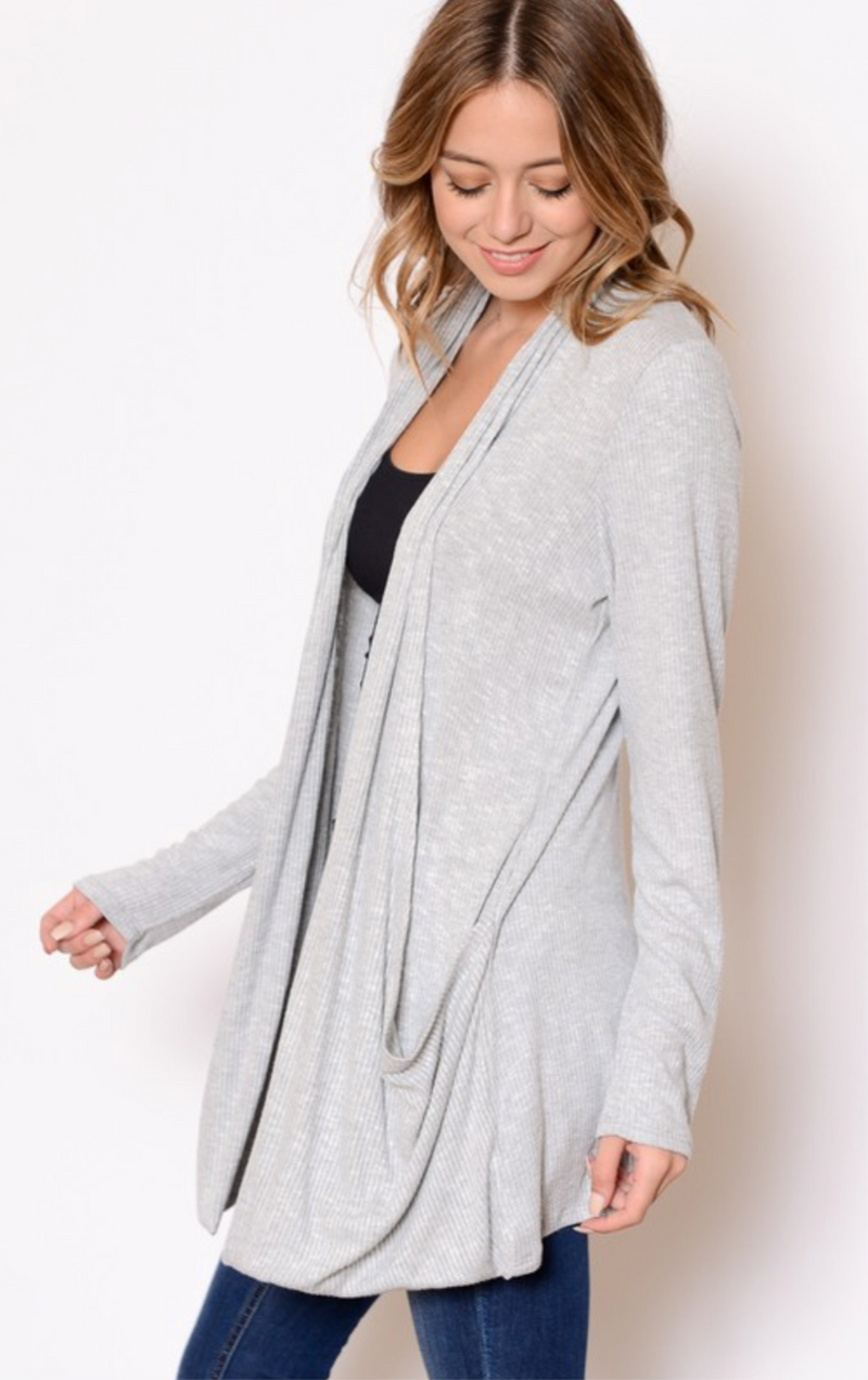 KNIT CARDIGAN - BLACK, GRAY AND OFF WHITE - RETAIL STORE