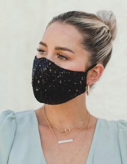 SEQUIN FACE MASK - BLACK, CHAMPAGNE AND WHITE - RETAIL STORE