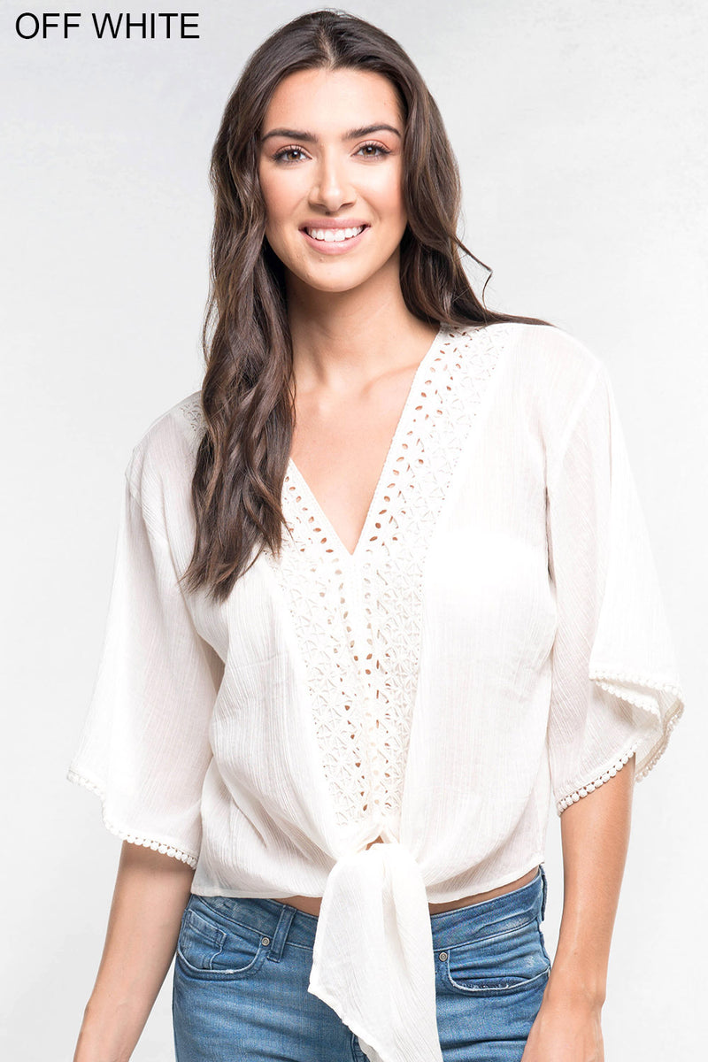 LIGHTWEIGHT EYELET TRIMMED TOP - AVAILABLE IN WHITE AND BLACK - RETAIL STORE