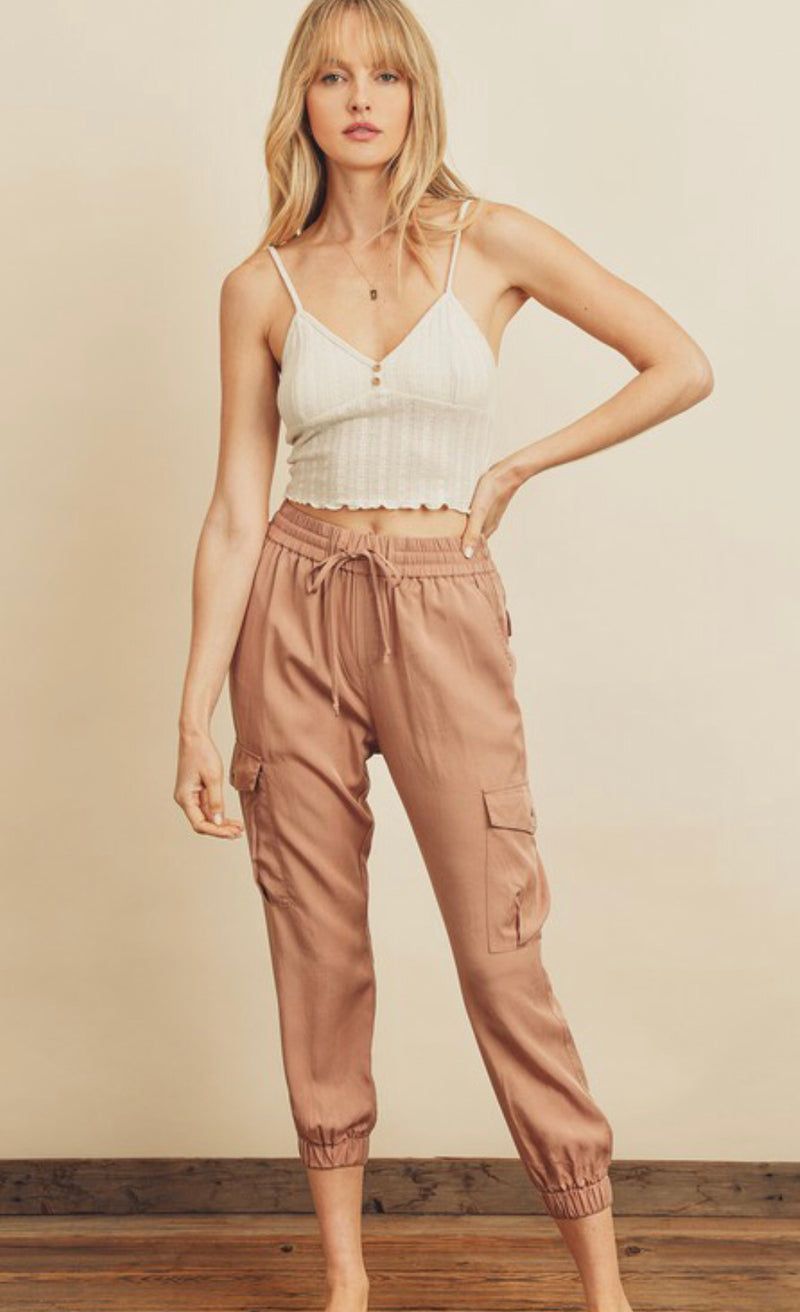 MINERAL WASHED CARGO JOGGER - SAND BLUSH