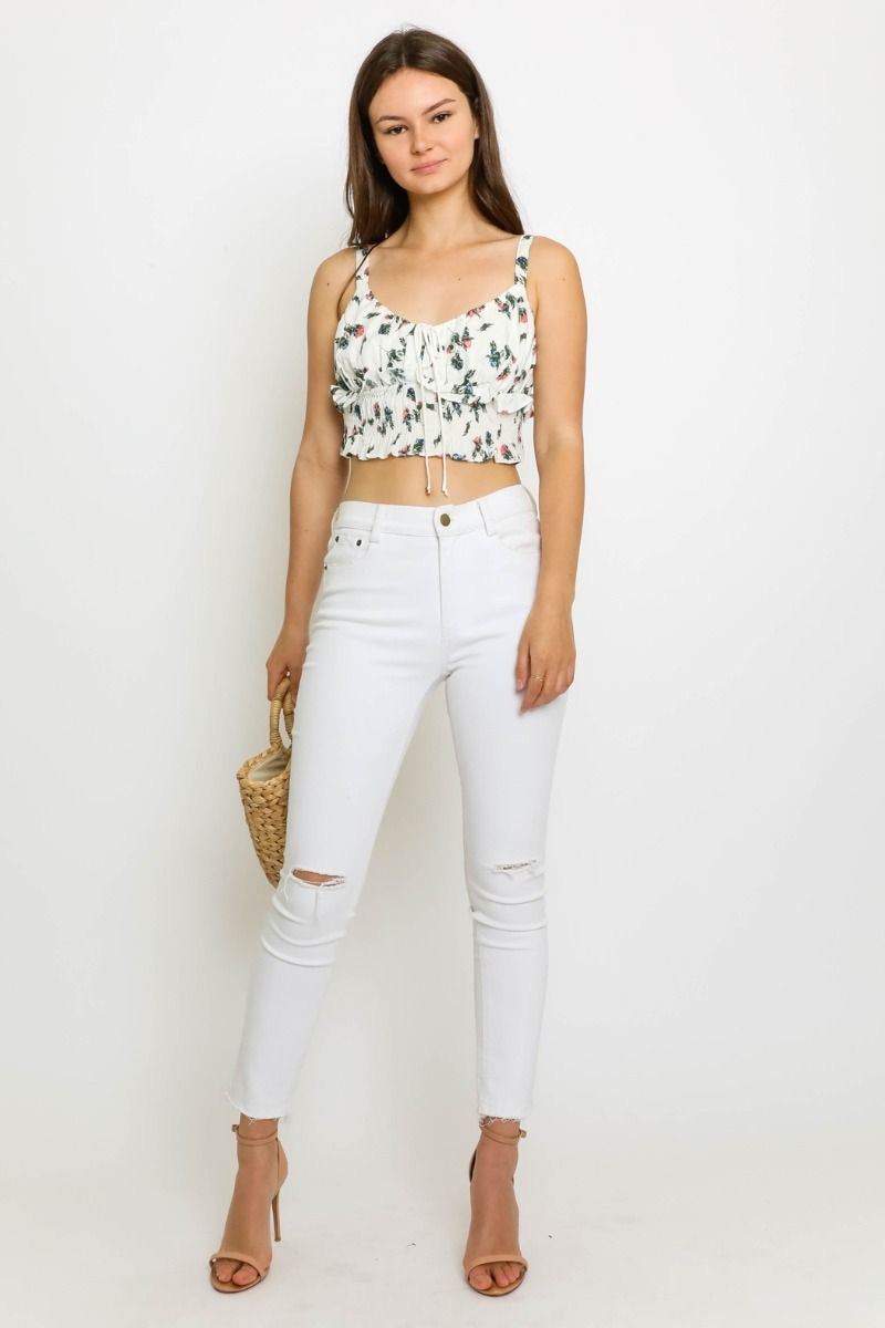 FLORAL RUFFLE CROP TANK - RETAIL STORE