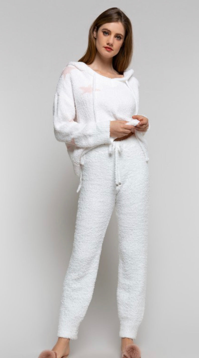 BERBER FLEECE DRAWSTRING PANTS - SNOW WHITE - RETAIL STORE
