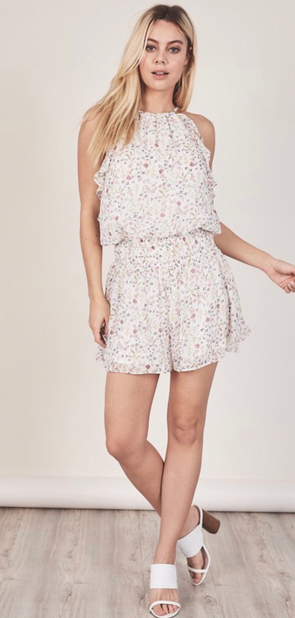 FLORAL SLEEVELESS ROMPER - WHITE - RETAIL STORE