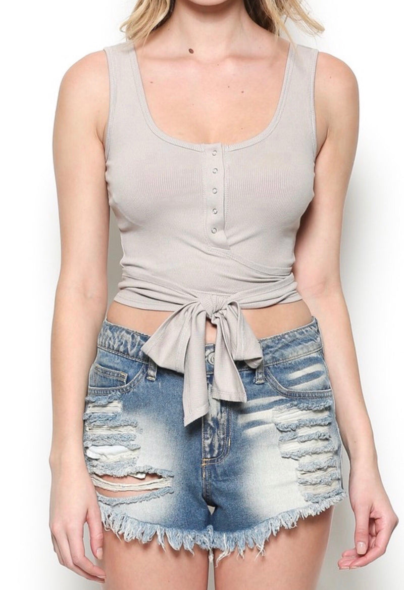 RIBBED SINGLET CROP TOP - TAUPE - RETAIL STORE