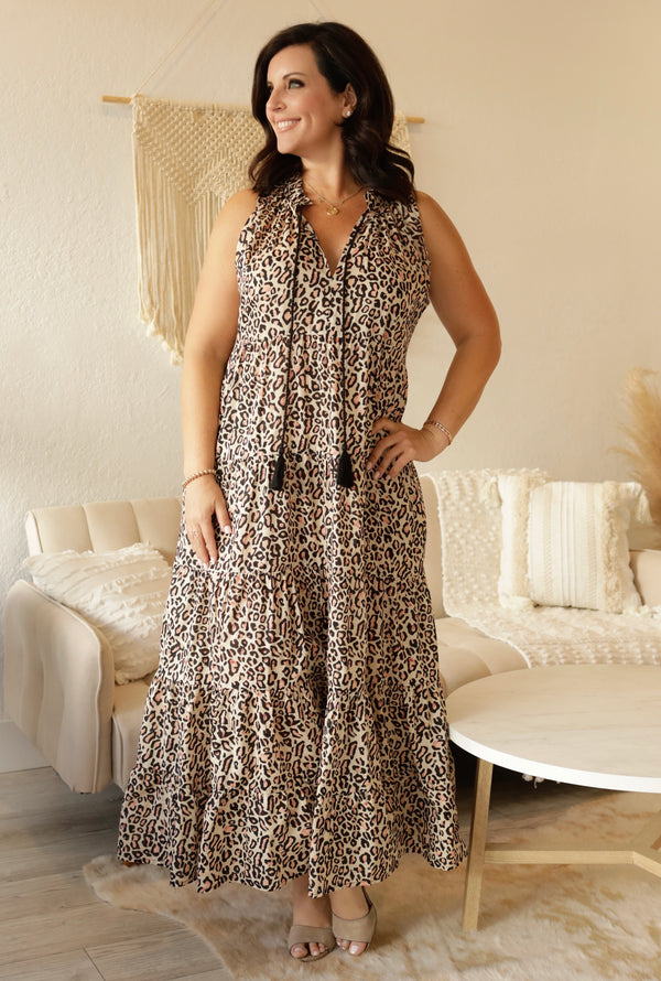 LEOPARD MAXI DRESS- TAN/BLACK