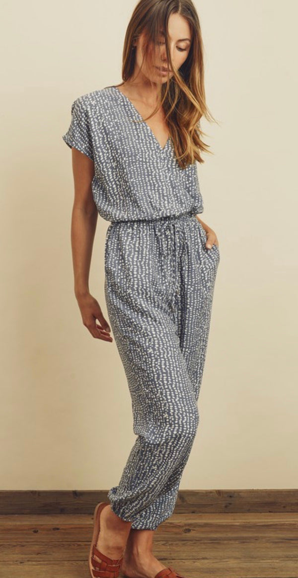 PEBBLE PRINTED SURPLICE JUMPSUIT - TAUPE/WHITE - RETAIL STORE