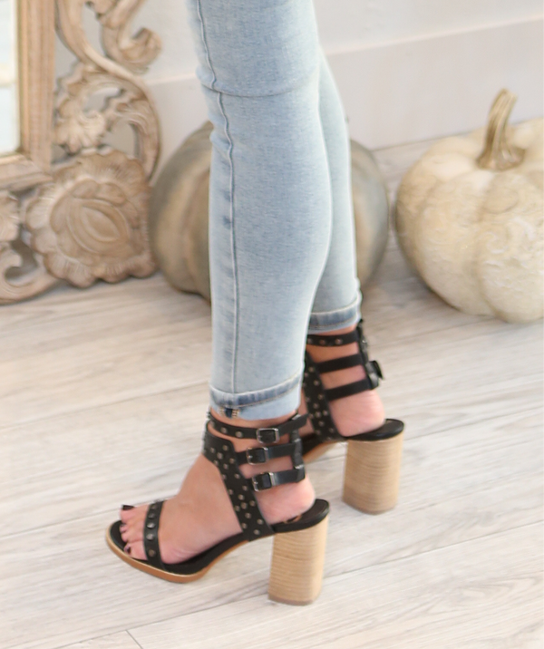 STUDDED STRAPPY BLOCK HEEL SANDAL - TAUPE & BLACK - RETAIL STORE