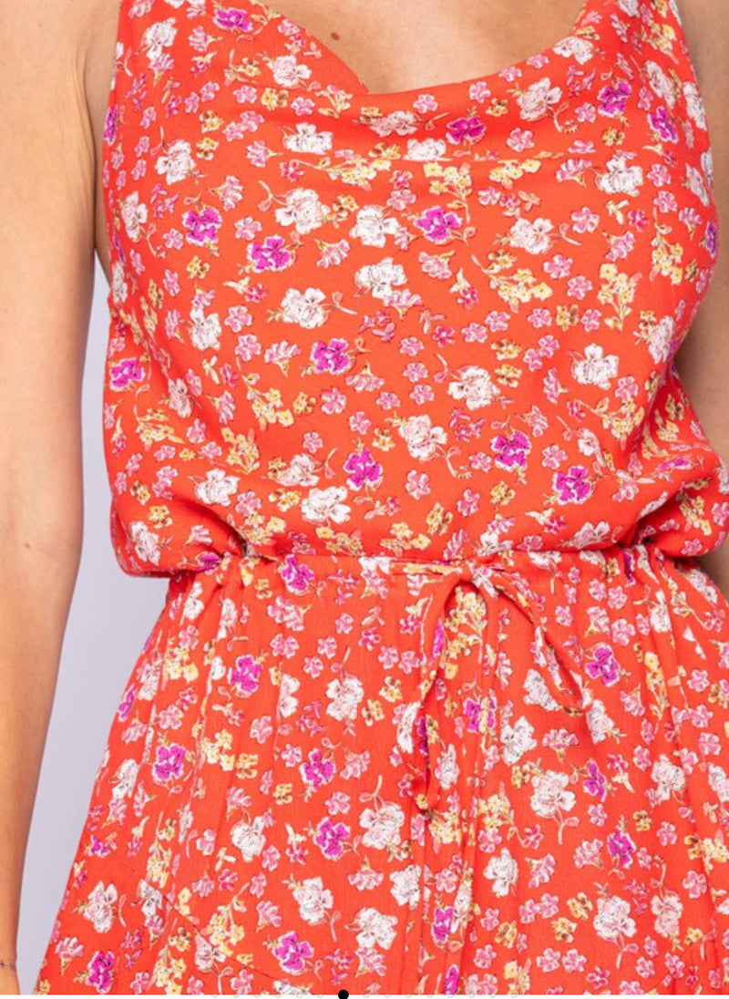 FLORAL PRINT COWL NECK ROMPER - FIERY RED  - RETAIL STORE