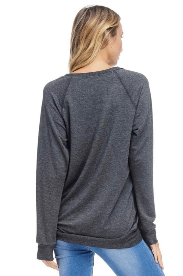 "LONG SLEEVE  ""GAME DAY""  GRAHIC TOP - HEATHER GREY - RETAIL STORE"
