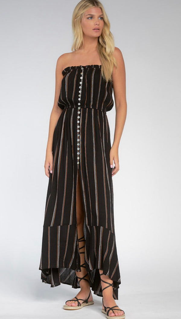 ELAN STRAPLESS MAXI WITH FRONT SLIT AND RUFFLED HEM - BLACK STRIPE