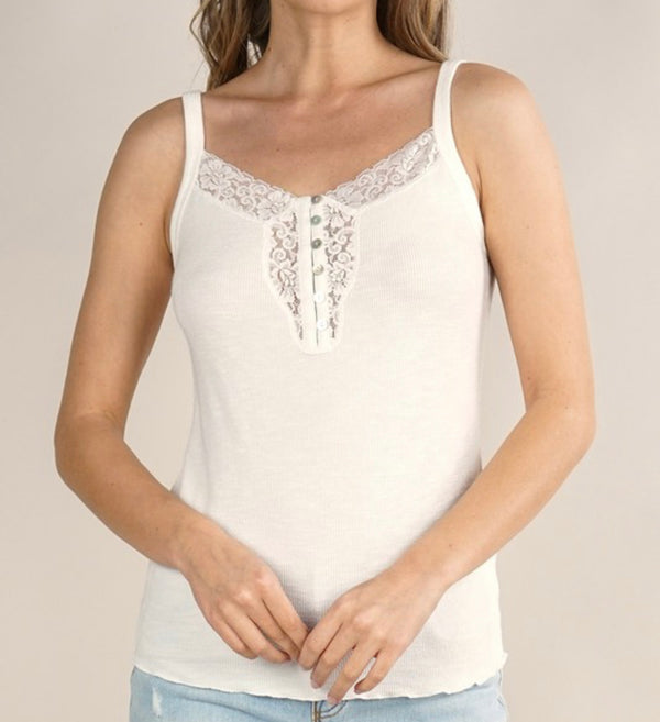 HENLEY TANK - AVAILABLE IN BLACK, WHITE AND BLUSH - RETAIL STORE