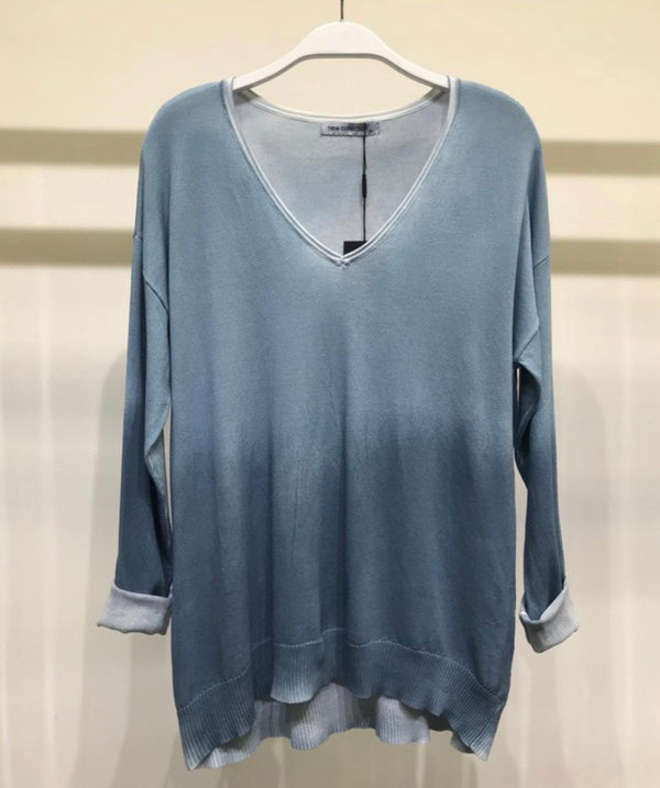 GRADIENT TIE DYE LIGHT KNIT SWEATER - DENIM BLUE - RETAIL STORE