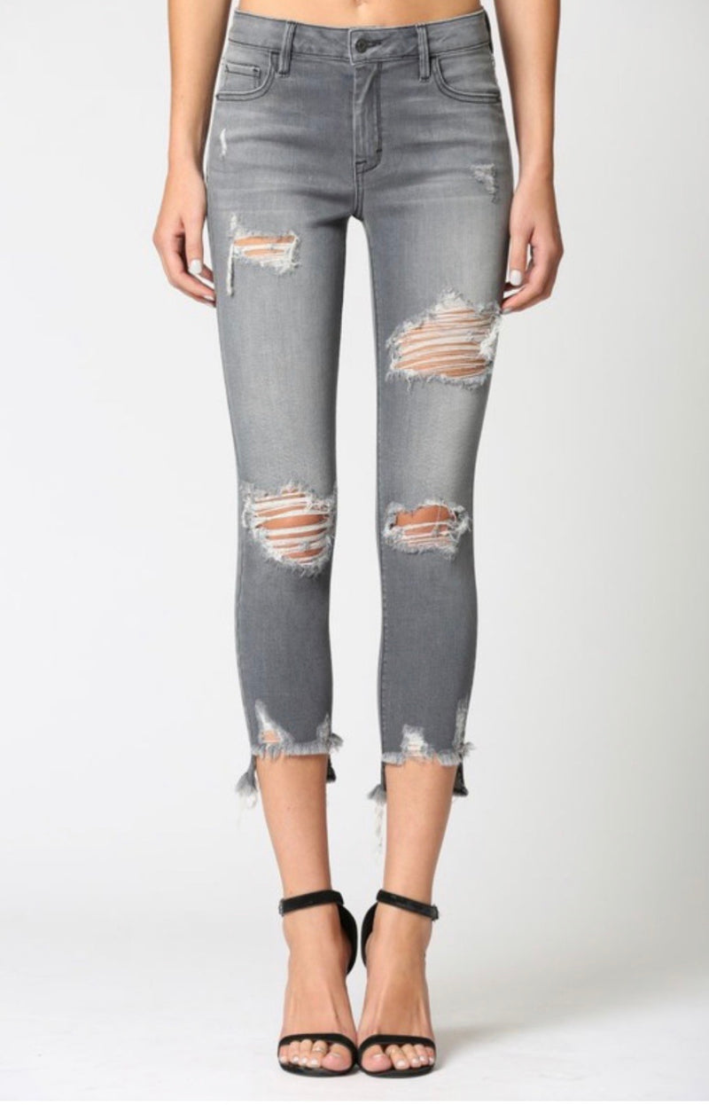 DISTRESSED MID RISE SKINNY JEAN - GREY - RETAIL STORE