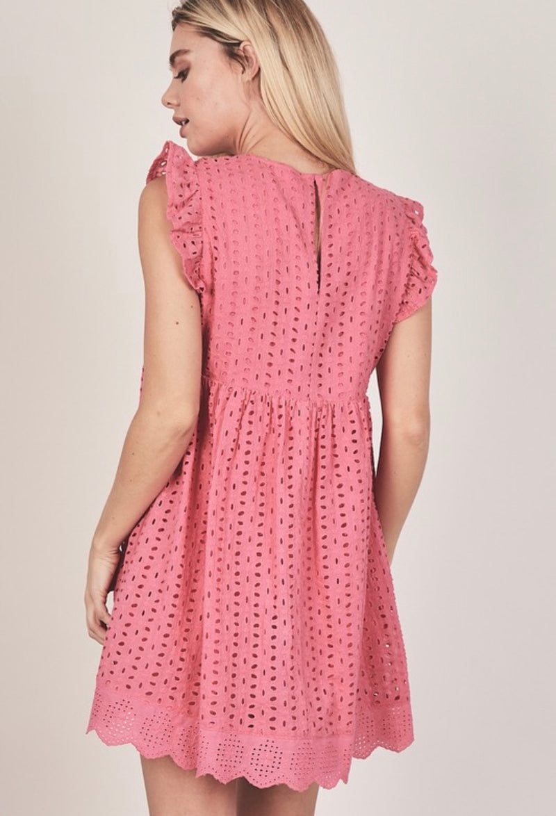 EYELET ROMPER DRESS - HOT PINK, LAVENDER, WHITE & LIGHT BLUE - RETAIL STORE