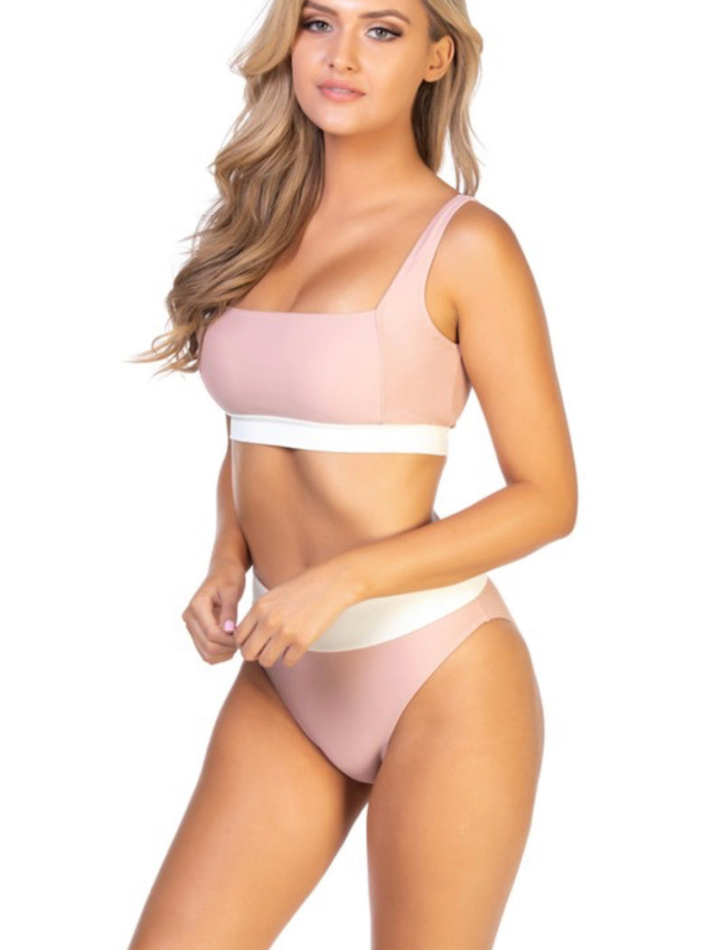 HIGH WAISTED BIKINI BOTTOMS ONLY - BLUSH/WHITE - RETAIL STORE