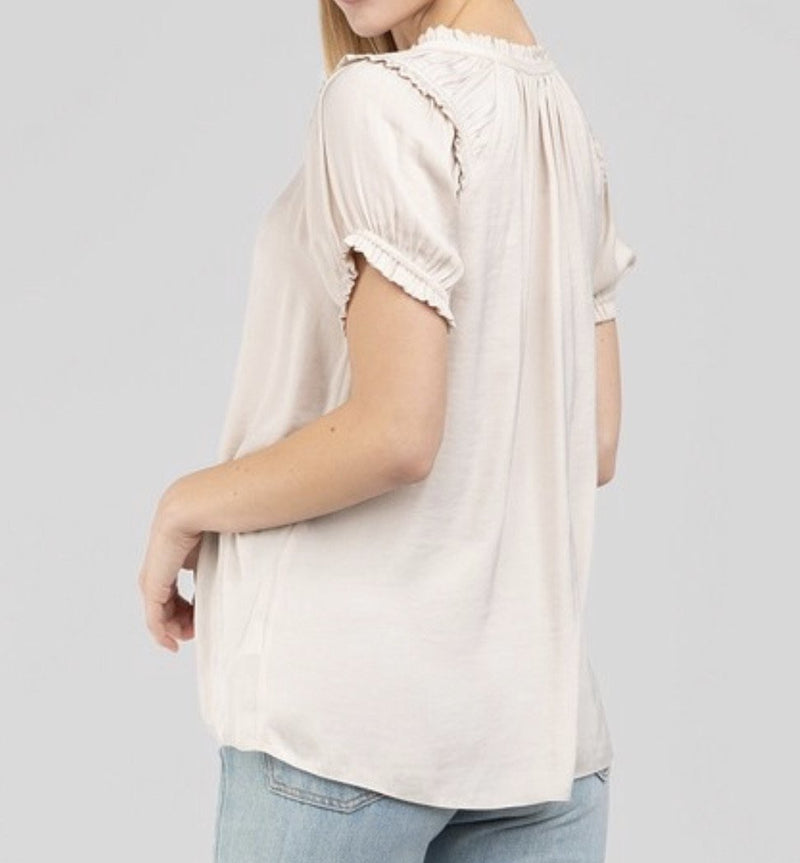 RUFFLE TRIM SPLIT NECK BLOUSE- AVAILABLE IN MULTIPLE COLORS- RETAIL STORE