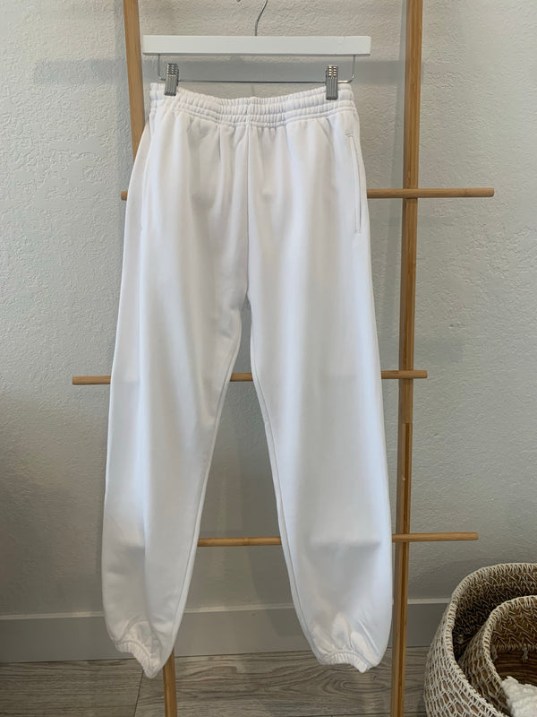 ELASTIC WAIST JOGGERS WITH POCKETS - ROSE & OFF WHITE - RETAIL STORE