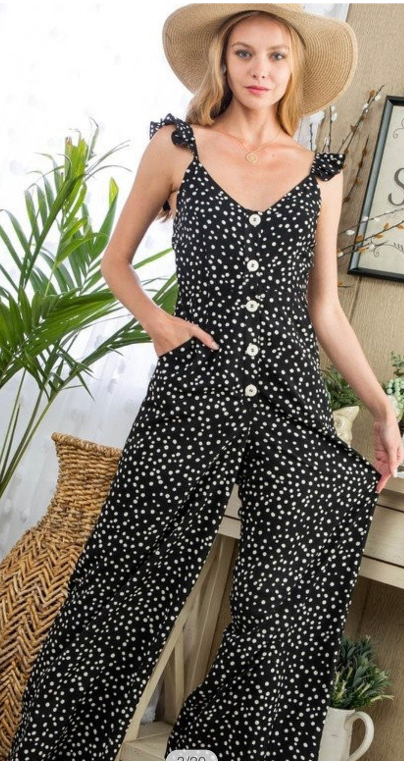 FRONT BUTTON POLKA DOT JUMPSUIT - BLACK/WHITE - RETAIL STORE