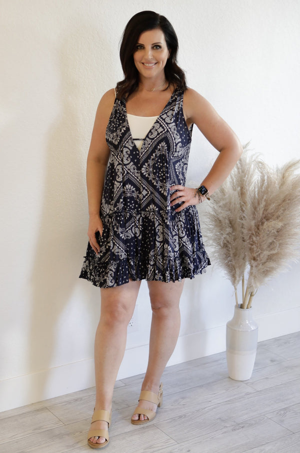 SLEEVELESS TIERED BANDANA TANK DRESS - NAVY