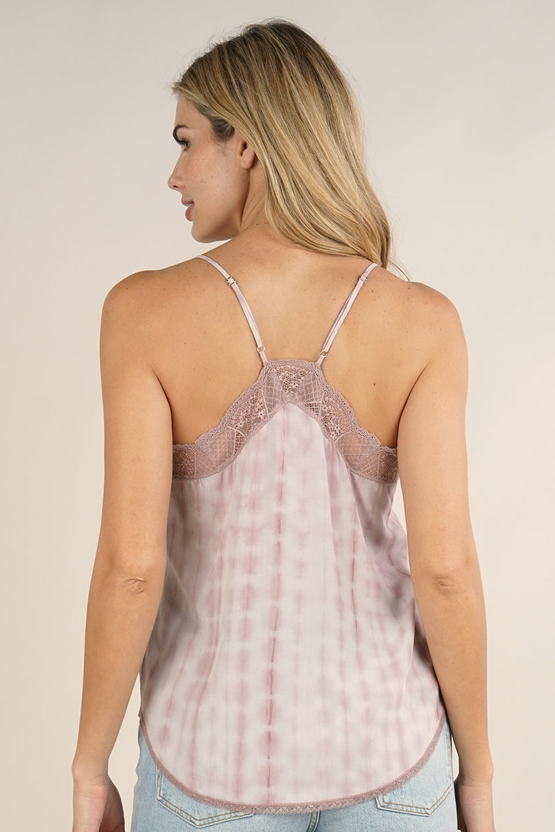 TIE DYE LACE TRIM CAMI - CEMENT ROSE - RETAIL STORE