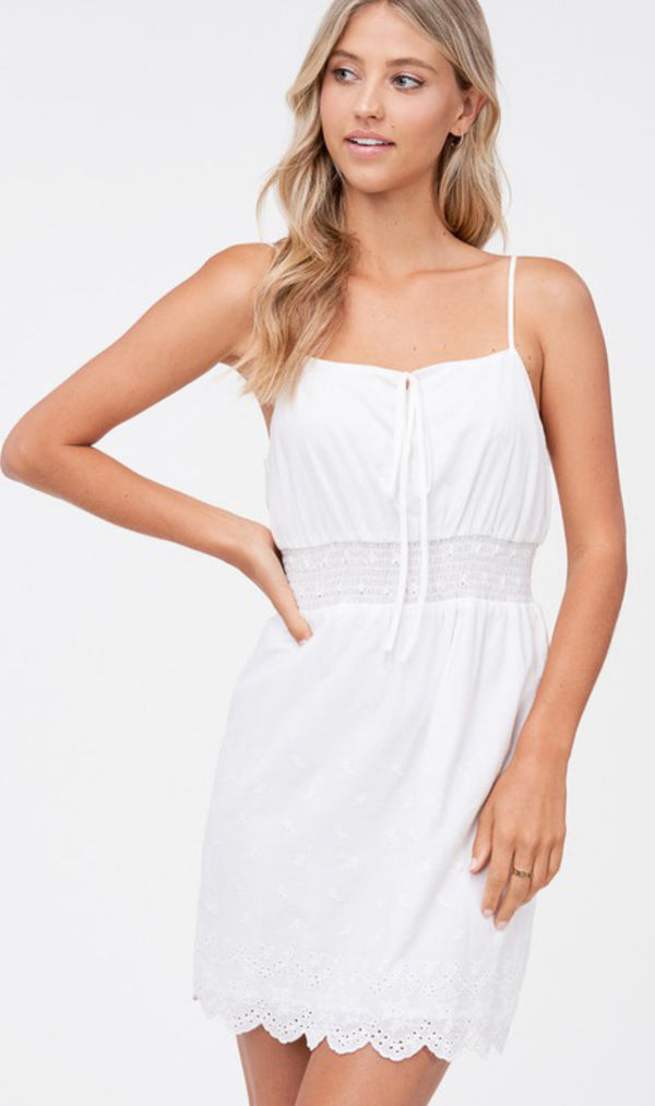 EYELET SPAGHETTI STRAP MINI DRESS - WHITE