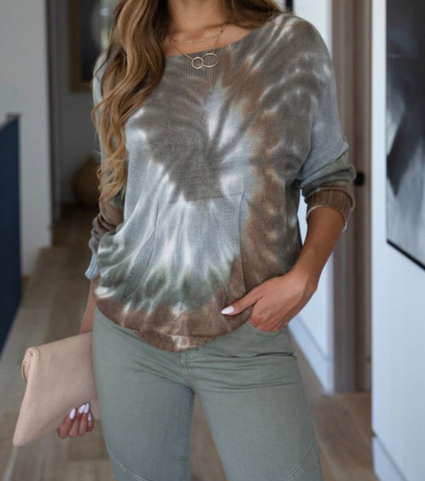 SPIRAL TIE DYE DRAPEY KNIT LONG SLEEVE TOP - RETAIL STORE