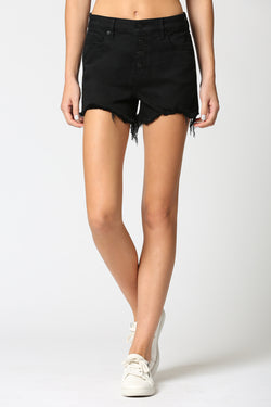 HI RISE BUTTON FLY MOM SHORTS - BLACK
