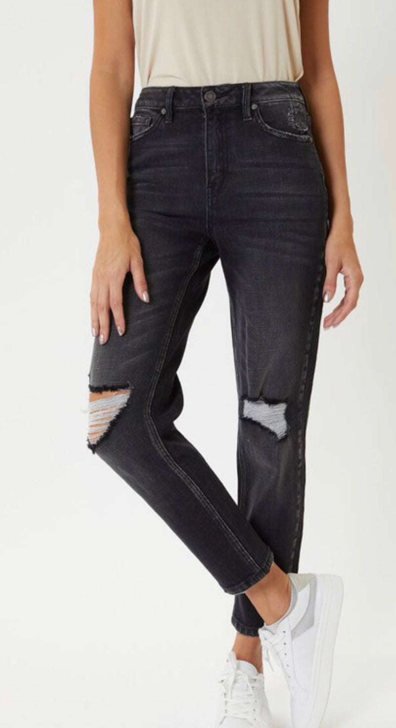 HIGH RISE DISTRESSED MOM JEAN - BLACK - RETAIL STORE