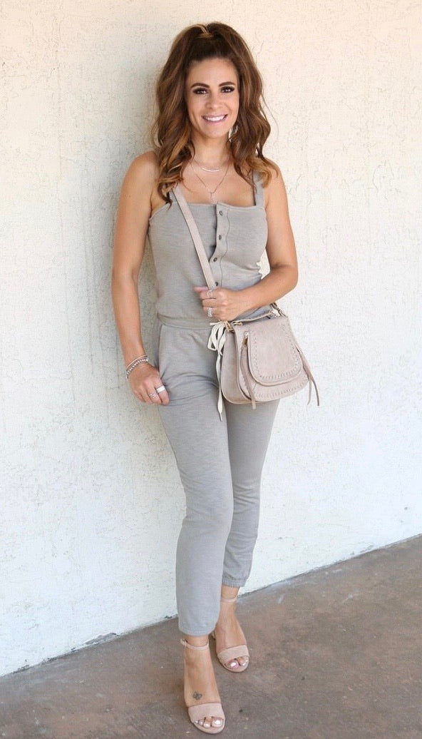 BUTTON UP DRAWSTRING JUMPSUIT - KHAKI - RETAIL STORE