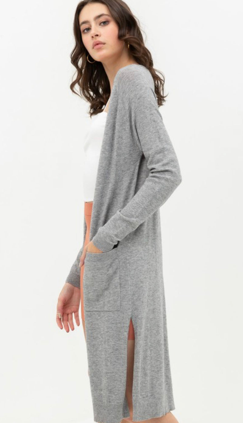 DUSTER CARDIGAN SWEATER - OATMEAL, BLACK AND HEATHER GREY - RETAIL STORE