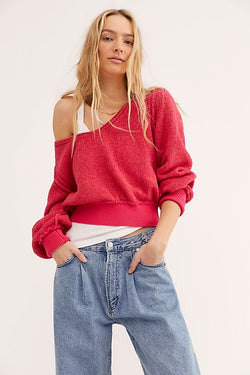 FREE PEOPLE RIPTIDE V NECK SWEATER - HOT PINK COMBO- RETAIL STORE