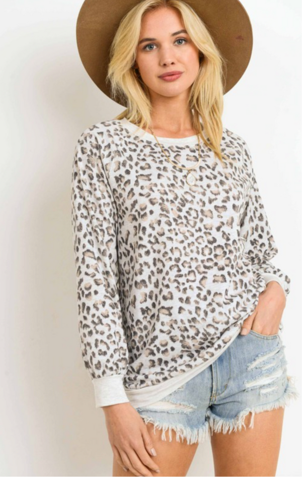 LEOPARD FRENCH TERRY TOP ONLY - RETAIL STORE