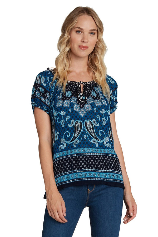 PAISLEY PRINT SHORT SLEEVE BLOUSE - BLUE - RETAIL STORE