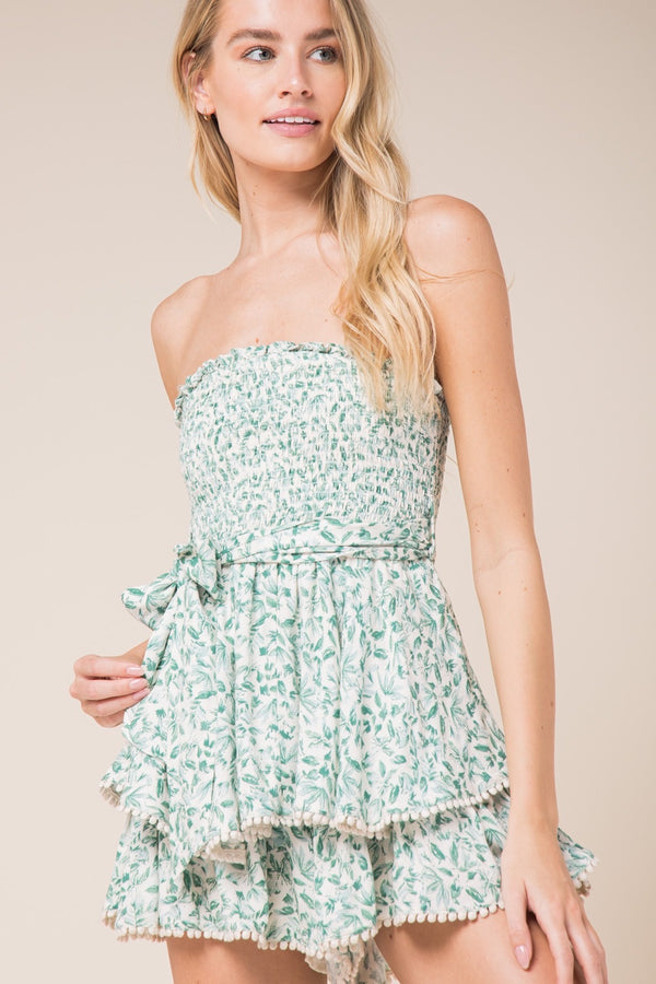 FLORAL PRINT SLEEVELESS ROMPER - FOREST GREEN - RETAIL STORE
