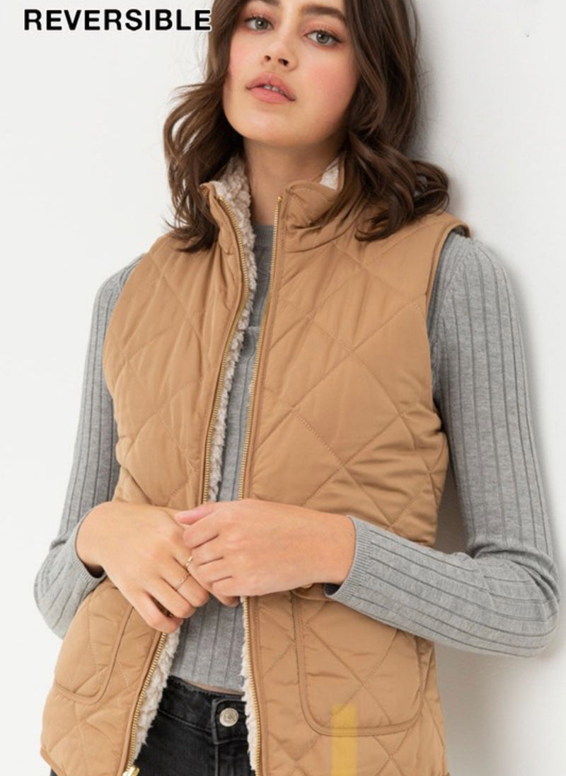 REVERSIBLE QUILTED SLEEVELESS VEST - OLIVE, BLACK, IVORY, CAMEL & BLUSH - RETAIL STORE